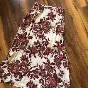 Bohme Love Lush Ivory Floral Print Maxi Skirt